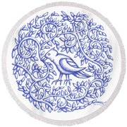 Round Bird January 17 Round Beach Towel