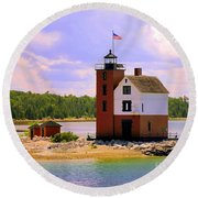 Round Island Lighthouse Round Beach Towel
