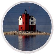 Round Island Lighthouse In The Morning Round Beach Towel
