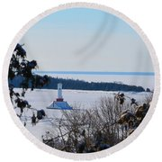 Round Island Passage Light Through The Trees Round Beach Towel
