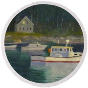 Round Pond Fading Light Round Beach Towel