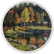 Round Pond Newbury Vermont Plein Air Round Beach Towel