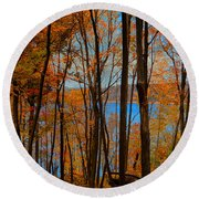 Round Valley State Park 5 Round Beach Towel by Raymond Salani III