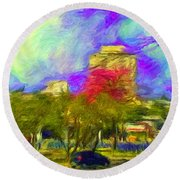 Roundabout In Franca Do Imperador  Round Beach Towel