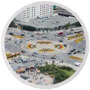 Round Beach Towel featuring the photograph Roundabout In Warsaw by Chevy Fleet