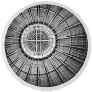 Roundhouse Architecture - Black And White Round Beach Towel