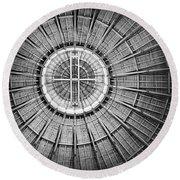 Roundhouse Architecture - Black And White Round Beach Towel by Joseph Skompski