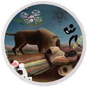 Rousseau's Nightmare Round Beach Towel