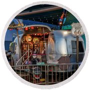 Route 66 And Airstream On Tha Pier Round Beach Towel