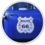 Route 66 Blue Truck Round Beach Towel
