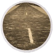 Round Beach Towel featuring the photograph Route 66 - Brick Highway 2 Sepia by Frank Romeo