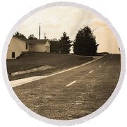 Round Beach Towel featuring the photograph Route 66 - Brick Highway Sepia by Frank Romeo