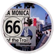 Route 66 End Of Trail Round Beach Towel