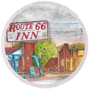 Route 66 Inn In Amarillo, Texas Round Beach Towel by Carlos G Groppa