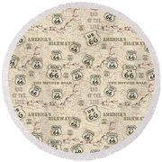 Route 66 Map-jp3960-b Round Beach Towel