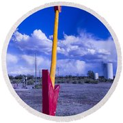 Route 66 Red Arrow Round Beach Towel