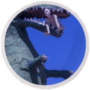 Route 66 Roadside Dinosaur Round Beach Towel