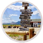 Route 66 Sign Post Round Beach Towel
