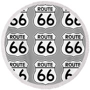 Route 66 Sign Tiles Round Beach Towel