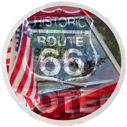 Round Beach Towel featuring the photograph Route 66 The American Highway by David Lee Thompson