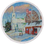 Route 8 North Round Beach Towel by Len Stomski
