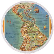 Routes Of The Flying Clipper Ships - Pan American Airways - Vintage Pictorial Map Round Beach Towel