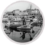 Rovinj Fisherman Working In Old Town Harbor - Rovinj, Istria, Croatia Round Beach Towel