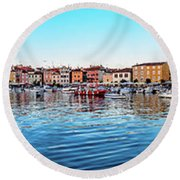Rovinj Harbor And Boats Panorama Round Beach Towel