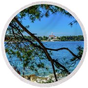 Rovinj Old Town Accross The Adriatic Through The Trees Round Beach Towel