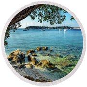 Rovinj Old Town, Harbor And Sailboats Accross The Adriatic Through The Trees Round Beach Towel