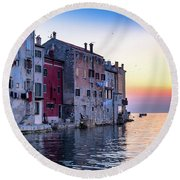 Rovinj Old Town On The Adriatic At Sunset Round Beach Towel