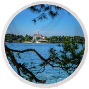 Rovinj Seaside Through The Adriatic Trees, Istria, Croatia Round Beach Towel