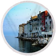 Rovinj Venetian Buildings And Adriatic Sea, Istria, Croatia Round Beach Towel