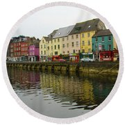 Row Homes On The River Lee, Cork, Ireland Round Beach Towel