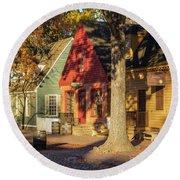 Row Houses Duke Of Gloucester Colonial Williamsburg Round Beach Towel