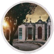 Round Beach Towel featuring the photograph Row Of Crypts by Carlos Caetano