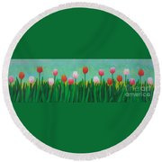 Row Of Tulips Round Beach Towel