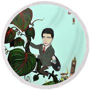 Rowan Atkinson Mr Beanstalk Round Beach Towel