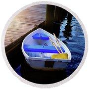 Rowboat At Sunset Round Beach Towel