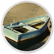 Rowboat At Twilight Round Beach Towel