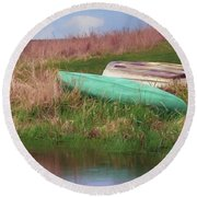 Round Beach Towel featuring the photograph Rowboat - Canoe by Nikolyn McDonald