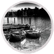 Round Beach Towel featuring the photograph Rowboats At The Dock 2 by David Patterson