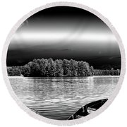 Round Beach Towel featuring the photograph Rowboats At The Dock 3 by David Patterson