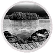 Round Beach Towel featuring the photograph Rowboats At The Dock 4 by David Patterson