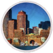 Rowes Wharf Boston Round Beach Towel