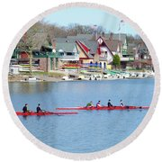 Rowing Along The Schuylkill River Round Beach Towel
