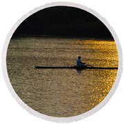Rowing At Sunset Round Beach Towel