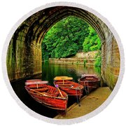 Rowing Boats In Durham City Round Beach Towel
