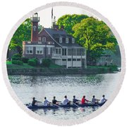 Round Beach Towel featuring the photograph Rowing Crew In Philadelphia In The Spring by Bill Cannon