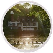 Round Beach Towel featuring the photograph Rowing In Front Of Segley Club by Bill Cannon